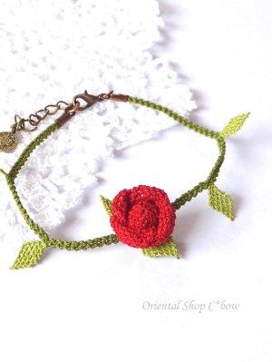 画像1: シルクイーネオヤブレスレット|1つ薔薇|レッド×ライトグリーン