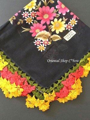 画像1: バルッケシル:大判トゥーオヤスカーフ ブラック×黄色ピンク