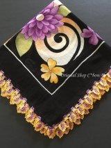 バルッケシル:大判トゥーオヤスカーフ|ブラック×紫黄