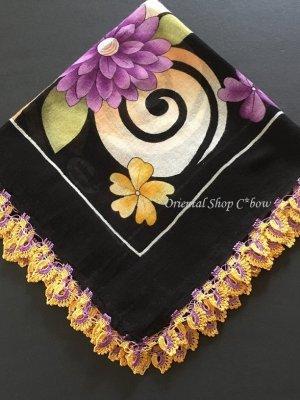 画像1: バルッケシル:大判トゥーオヤスカーフ|ブラック×紫黄