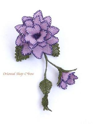 画像1: シルクイーネオヤブローチ|つぼみ付き薔薇|ライラック