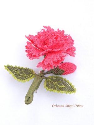 画像1: シルクイーネオヤブローチ|つぼみ付きカーネーション|ピンク