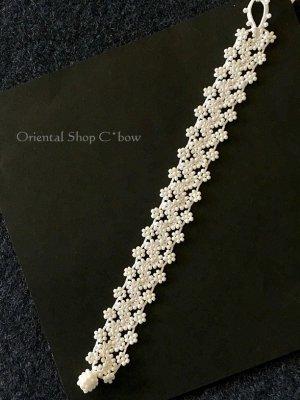 画像4: 日本発送★ボンジュックオヤブレスレット|小花のジグザグ小道☆ホワイトラスター