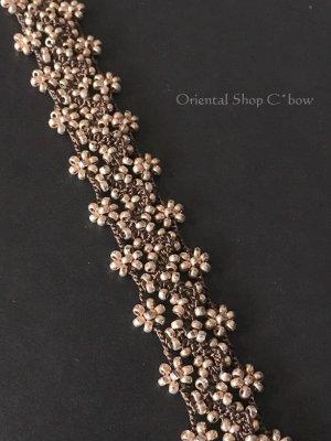 画像3: 日本発送★ボンジュックオヤブレスレット|小花のジグザグ小道☆ブラウン×シャンパンゴールド
