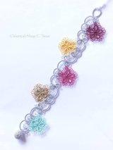 日本発送◆メキッキオヤブレスレット|花|ライトグレーカラフル