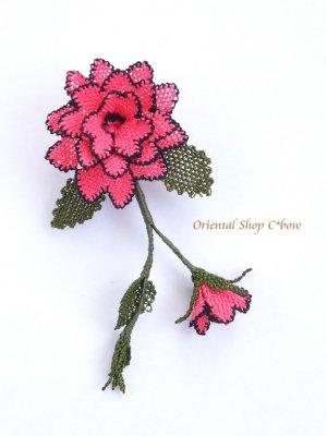 画像1: シルクイーネオヤブローチ|つぼみ付き薔薇|パッションピンク