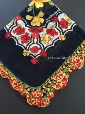 画像1: バルッケシル:大判フィルケテオヤ・トゥーオヤスカーフ|ブラック×赤黄