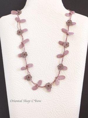 画像1: リーフ&フラワー★ロングネックレス 花ピンクグレー×葉ミスティパープル
