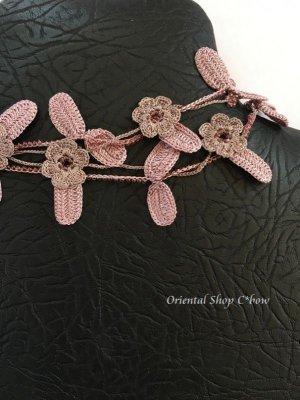 画像4: リーフ&フラワー★ロングネックレス 花ピンクグレー×葉ミスティパープル