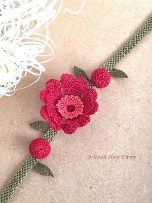 画像2: 日本発送★シルクイーネオヤブレスレット・アンクレット 赤い花