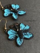シルクイーネオヤピアス|蝶々|ターコイズブルー