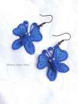 シルクイーネオヤピアス|蝶々|ビビットブルー