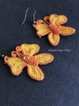 シルクイーネオヤピアス|蝶々|イエローオレンジ