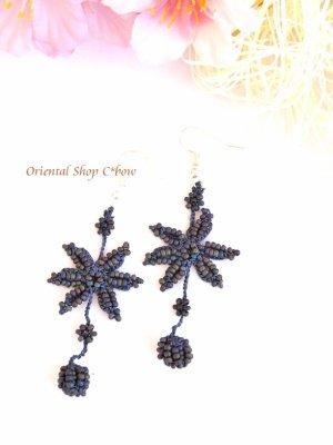 画像1: ボンジュックオヤピアス|ゆらゆら星|ミッドナイトブルー×マット玉虫