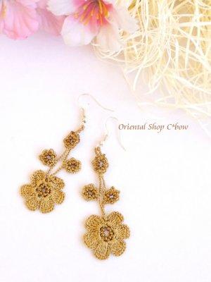 画像1: ボンジュックオヤピアス ゆらゆら花 アンティークゴールド