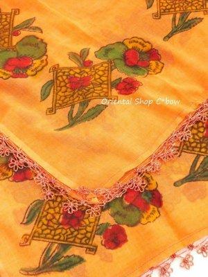 画像2: バルッケシル:アンティークオヤスカーフ・ヤズマ変 メキッキオヤ コーラルオレンジ