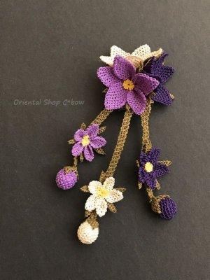 画像2: シルクイーネオヤブローチ|つぼみ付き3つ花|パープル系