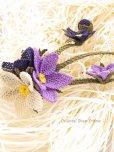 画像4: シルクイーネオヤブローチ|つぼみ付き3つ花|パープル系 (4)