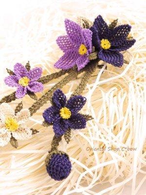 画像3: シルクイーネオヤブローチ|つぼみ付き3つ花|パープル系