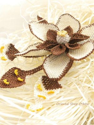 画像3: シルクイーネオヤブローチ|つぼみ付き花|ココア×エッグ