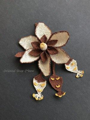 画像2: シルクイーネオヤブローチ|つぼみ付き花|ココア×エッグ