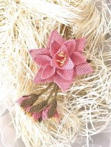 シルクイーネオヤブローチ|つぼみ付き星花|ライトピンク