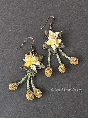 画像5: シルクイーネオヤピアス|花付き3つオリーブ