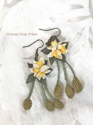 画像1: シルクイーネオヤピアス|花付き3つオリーブ