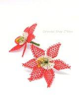 手作りアクセに☆シルク糸:イーネオヤ単体|大きな6枚花|レッド