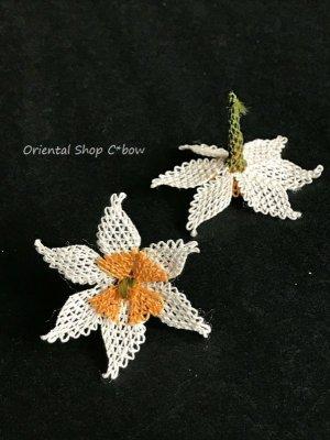 画像1: 手作りアクセに☆シルク糸:イーネオヤ単体|大きな6枚花|オフホワイト
