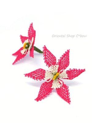 画像1: 手作りアクセに☆シルク糸:イーネオヤ単体|大きな6枚花|濃ピンク