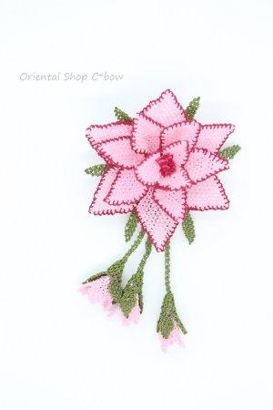 画像2: シルクイーネオヤブローチ|つぼみ付き星花|ライトピンク