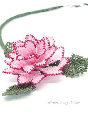 画像1: シルクイーネオヤネックレス|薔薇|ライトピンク