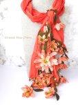 画像1: 一点物・豪華絢爛★作り込まれたお花★アシンメトリースカーフ|コーラルピンク (1)