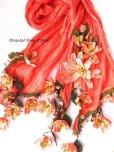 画像5: 一点物・豪華絢爛★作り込まれたお花★アシンメトリースカーフ|コーラルピンク