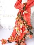 画像3: 一点物・豪華絢爛★作り込まれたお花★アシンメトリースカーフ|コーラルピンク