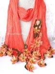 画像2: 一点物・豪華絢爛★作り込まれたお花★アシンメトリースカーフ|コーラルピンク