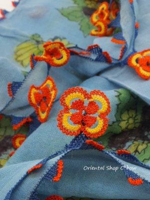 画像1: イズミール|木版アンティークオヤスカーフ|シルク糸イーネオヤ|アンティークブルー