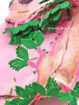 イズミール|木版アンティークオヤスカーフ|シルク糸イーネオヤ|ピンクグリーン