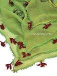 画像6: イズミール|木版アンティークオヤスカーフ|シルク糸イーネオヤ|オリーブグリーン・キュペリ