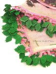 画像2: イズミール|木版アンティークオヤスカーフ|シルク糸イーネオヤ|ピンクグリーン