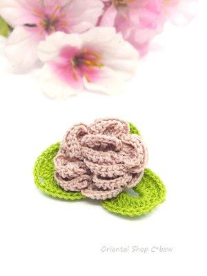 画像2: バラの小さいブローチ 人工シルク糸 アンティークローズ