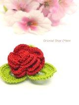 バラの小さいブローチ|人工シルク糸|レッド