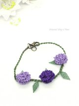 シルクイーネオヤブレスレット|3つ花|紫陽花のようなベリー|パープル系