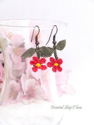 画像1: シルクイーネオヤピアス ゆらゆら小花(葉) パッションピンク