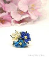 日本発送◆一番人気☆シルクイーネオヤ リング|3つ花|ブルー系