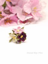 日本発送◆一番人気☆シルクイーネオヤ リング|3つ花|ピンク系