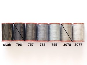 画像1: MUZ撚り済み:人工シルク糸|6本撚り糸|グレー・ブラック系