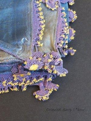 画像1: アイドゥン|アンティークオヤスカーフ|シルク糸|アンティークブルー