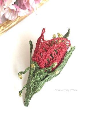 画像1: トゥーオヤ☆編みチューリップのブローチ|レッド